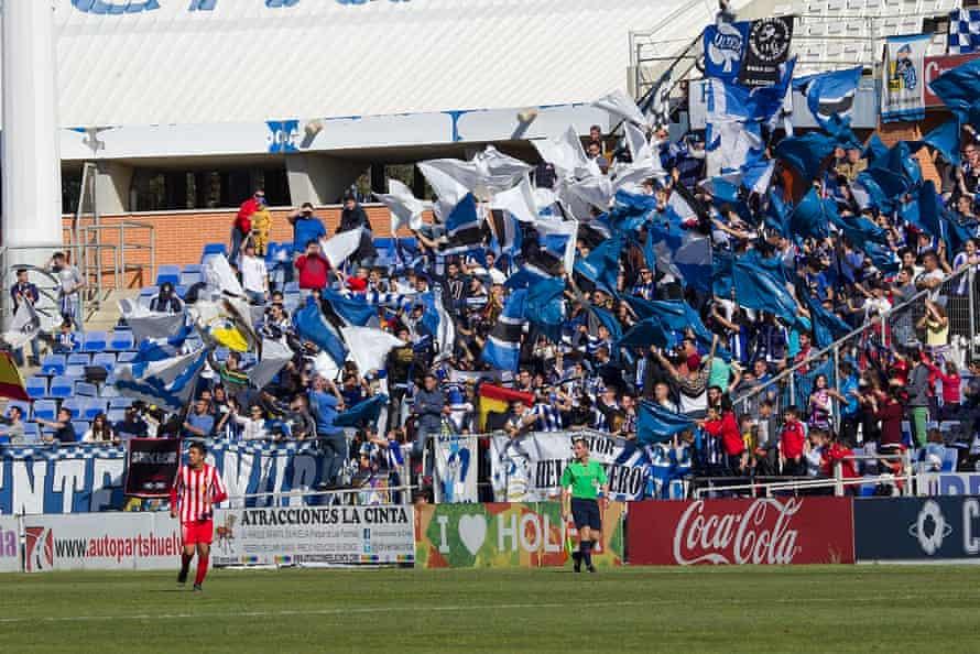 Recreativo Huelva fans at the Estadio Nuevo Colombino
