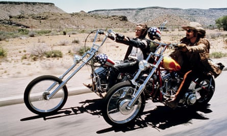 Lookin' for adventure … Peter Fonda and Dennis Hopper head out on the highway in the 1969 film Easy Rider.