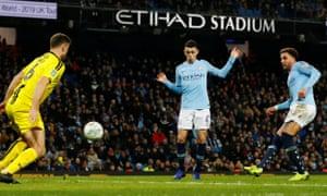 Manchester City's Kyle Walker scores their eighth goal.