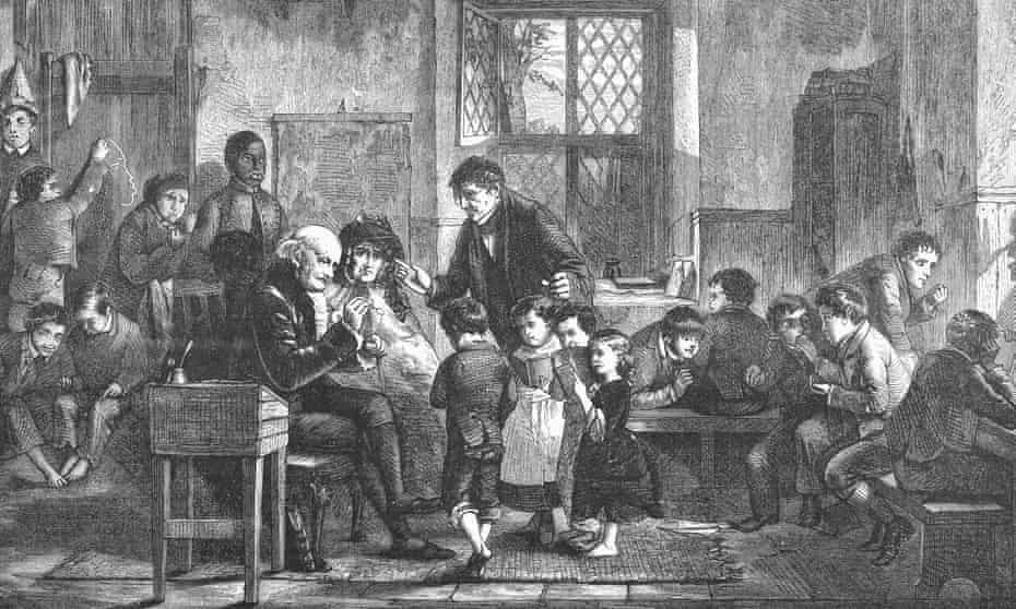 A village elementary school in England from a wood engraving, c1860.