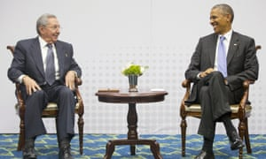 US       president Barack Obama and Cuban president Raul Castro met in       Panama in 2015.