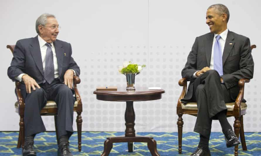 Barack Obama and Cuba's president, Raul Castro, meet on the sidelines of the Summit of the Americas in Panama City, Panama.