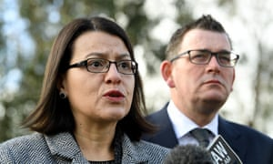 Victoria's health minister, Jenny Mikakos, left, and Daniel Andrews