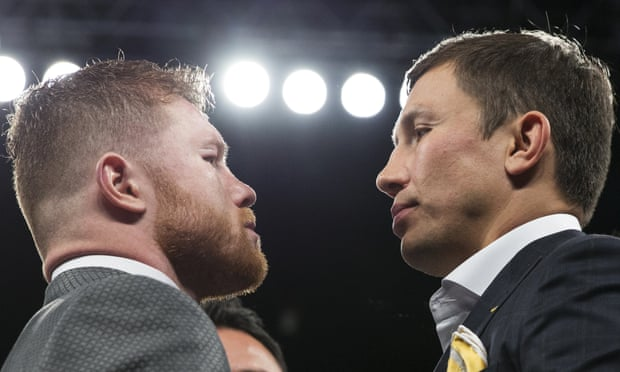 Saúl 'Canelo' Álvarez, left, and Gennady Golovkin face off under the Las Vegas lights after Álvarez had beaten Julio César Chávez Jr on points.