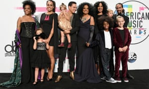 (L-R) Rhonda Ross Kendrick, Callaway Lane, Chudney Ross, Evan Ross, Jagger Snow Ross, Diana Ross, host Tracee Ellis Ross, Raif-Henok Emmanuel Kendrick, Indigo Naess, Ross Naess, and Bronx Wentz pose in the press room during the 2017 American Music Awards at Microsoft Theater on November 19, 2017 in Los Angeles, California