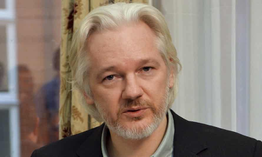 Julian Assange during a news conference at the Ecuadorian embassy in London in August 2014