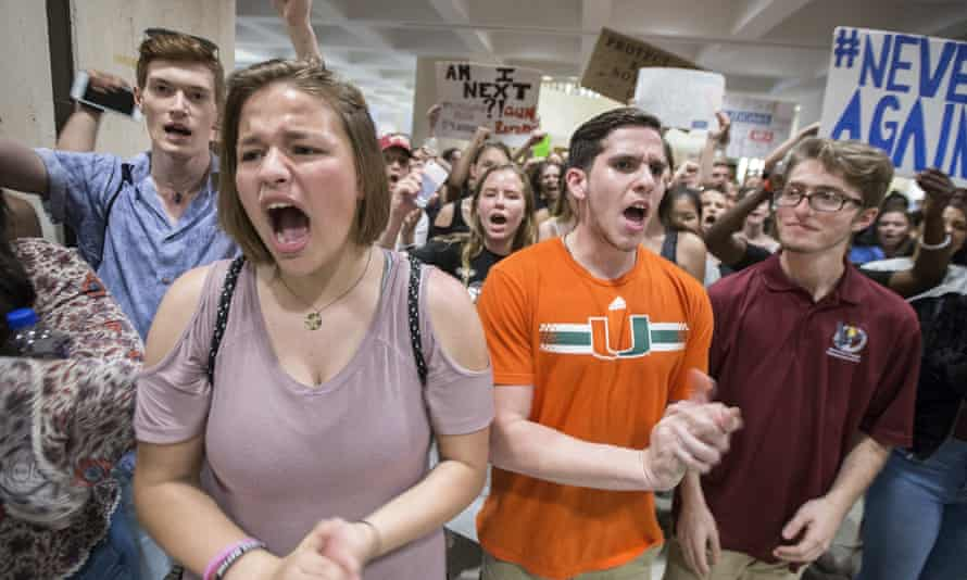 Students protest outside the Florida House of Representatives after last week's school shooting.