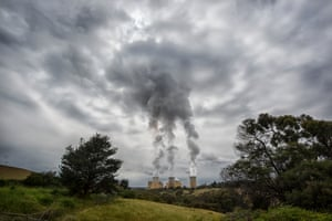Coal burning smoke stacks. Yallourne, Victoria, Australia.