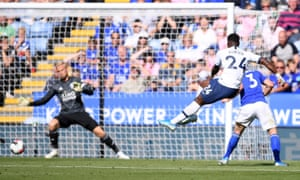 Serge Aurier lashes a shot in but the goal is disallowed following a VAR decision.