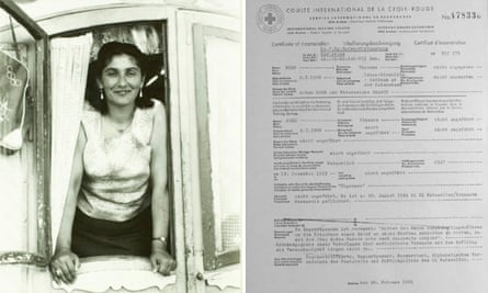 Margarete Kraus (left) and Vinzenz Rose's certificate of incarceration, showing that he 'geflüchtet' (escaped)