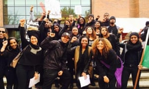 Dolezal leading a Black Lives Matter rally with students in 2014