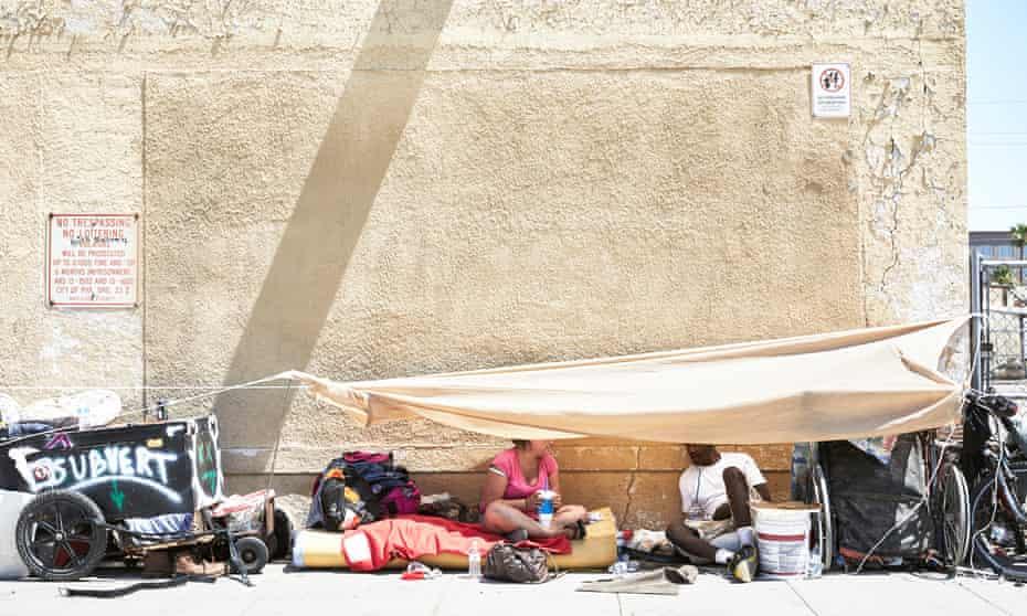 Homeless people in Phoenix, Arizona.