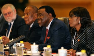 Habe Geingob (second right), photographed in 2014, criticised rich countries' resistance to increasing Unctad's mandate on taxation.