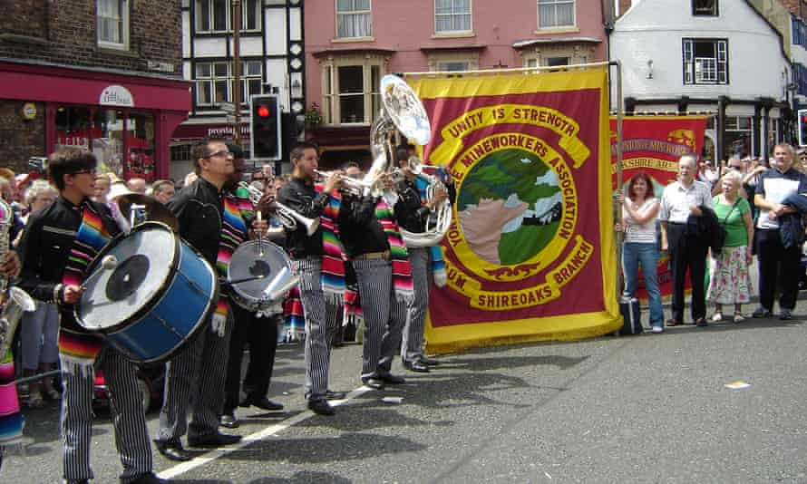 The Mexican Silver Town Band and Shireoaks colliery banner at the Durham miners' gala in 2009.