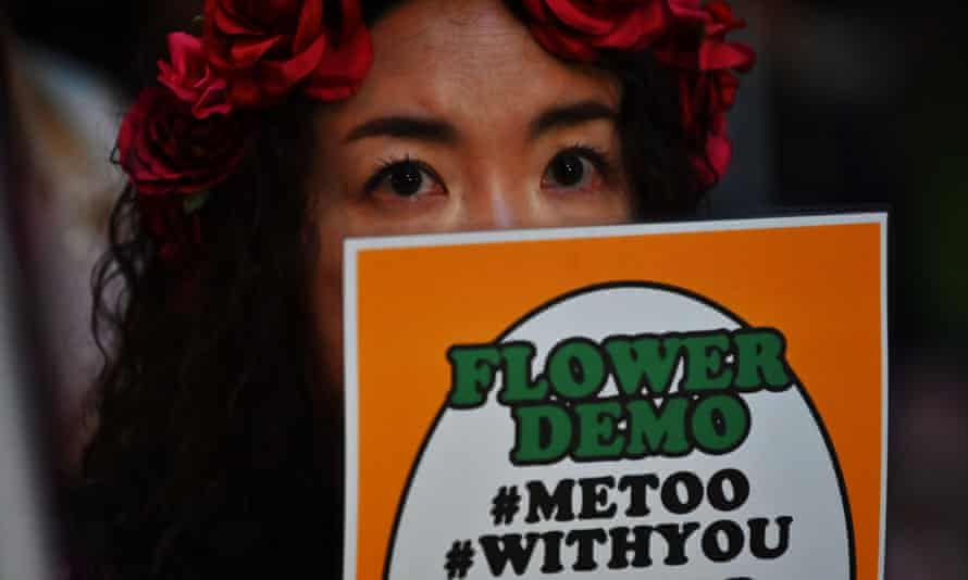 a metoo protester in tokyo, japan