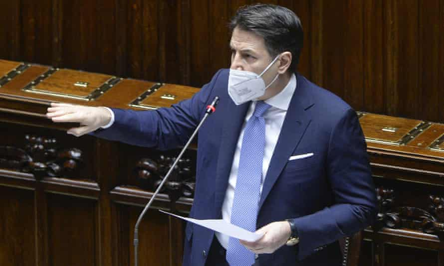Italy's prime minister, Giuseppe Conte, speaking about the current political situation in the lower house, the Chamber of Deputies, on Monday