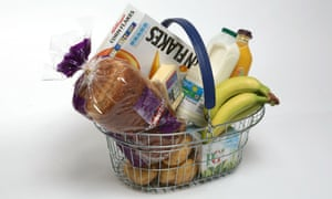 a basket of key supermarket items including cereal, bread, fruit and milk