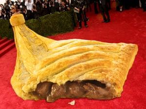 Greggs own meme of the Rihanna Met Gala 'omelette dress'.