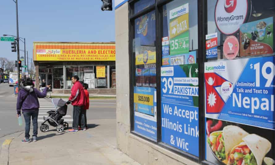 Clark Street in the Rogers Park neighborhood in Chicago, is full of Latino restaurants and business catering to immigrants.