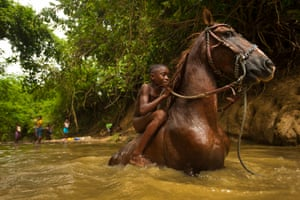 This image of a young bareback rider was taken in the village of Palenque de San Basilio, in Colombia's Bolívar department.