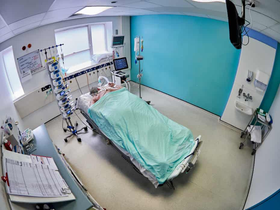 Supsended between life and death a patient with severe respiratory failure from COVID-19 is ventilated in the prone position.