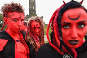 Performers gather for the Beltane fire festival on Calton Hill in Edinburgh