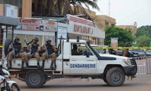 Security forces on patrol in Ouagadougou, Burkina Faso