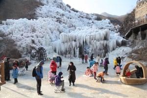 Frozen waterfalls in Shenquanxia scenic area in Mentougou District of Beijing
