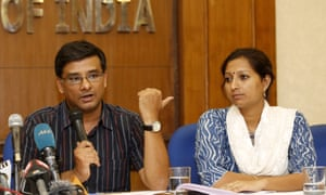 Samit Aich, left, Greenpeace India's executive director, and campaigner Priya Pillai at a press conference in May.