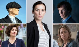 Composite image showing (clockwise from top left) Peaky Blinders, Line of Duty, Sherlock, Unforgotten, and Ordeal by Innocence