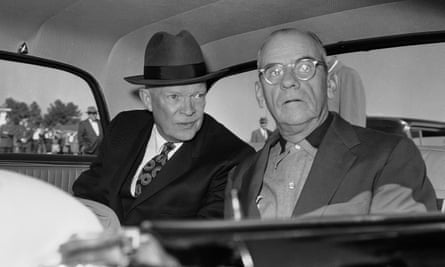 President Dwight Eisenhower leans over to say a few words to Roberts on a visit to the Little White  House in Atlanta in November 1959