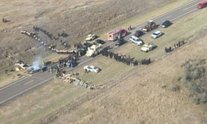 Dakota Access pipeline protesters blocked a main highway in an attempt to block officers from reaching a construction site