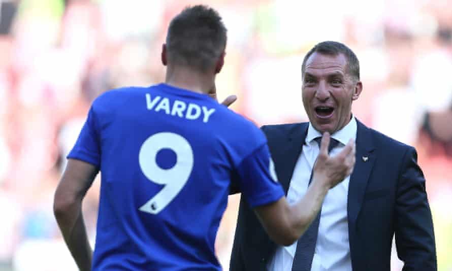 Brendan Rodgers congratulates Jamie Vardy