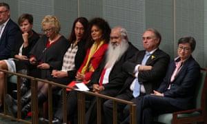 Senate leader Penny Wong and other labor senators watch Opposition leader Bill Shorten.