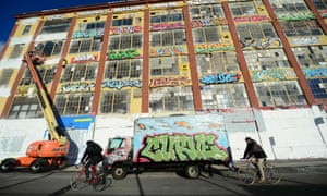 New York's famous graffiti spot known as the '5Pointz' factory. The building was covered with white paint in 2013 and replaced with apartments.