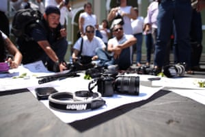 Cordoba, Veracruz, MexicoJournalists put down their cameras during a protest to demand justice for their murdered colleague Ricardo Monlui