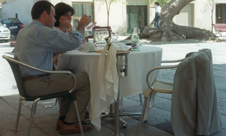 A couple eating out in Barcelona