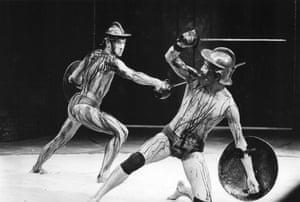 1984 McKellen, left, as Gaius Martius Coriolanus with Greg Hicks as Tullus Aufidius in Coriolanus at the Olivier in London