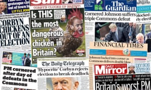 Front Pages of the UK Papers after PM Boris Johnson's bid to call a snap election is blocked in the House of Commons.