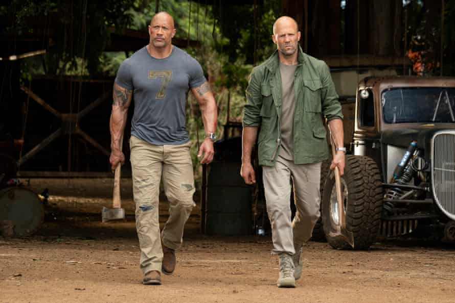 Statham with Dwayne Johnson in the upcoming Fast & Furious spinoff, Hobbs & Shaw.