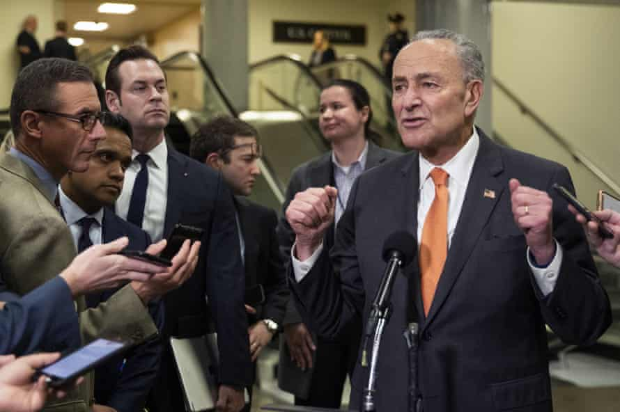 Chuck Schumer speaks to the media on Tuesday.
