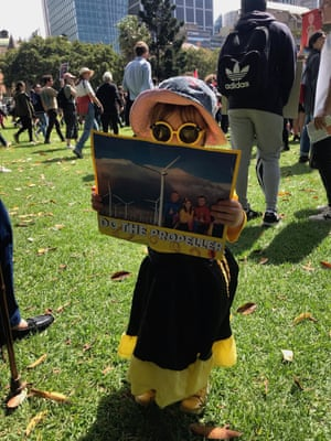 Three-year-old Matilda at the climate strike in Sydney with a Wiggles sign.
