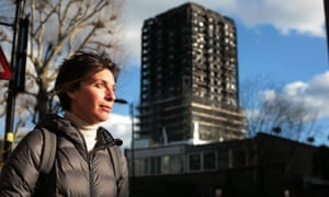Leilani Farha, the UN's rapporteur on housing, outside Grenfell Tower in London on Thursday