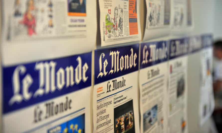 Pages from the Le Monde newspaper at its office in Paris, France.