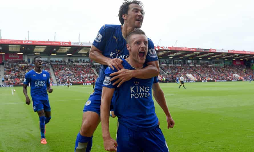 Jamie Vardy celebrates with team-mate Shinji Okazaki after scoring Leicester City's equaliser against Bournemouth at Vitality Stadium.