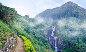 Ramboda falls in the mountains of Sri Lanka