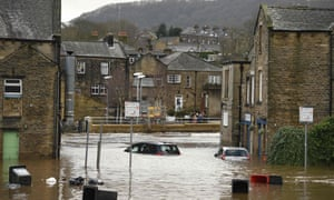 Mytholmroyd on 9 February 2020, when the Calder burst its banks after Storm Ciara.