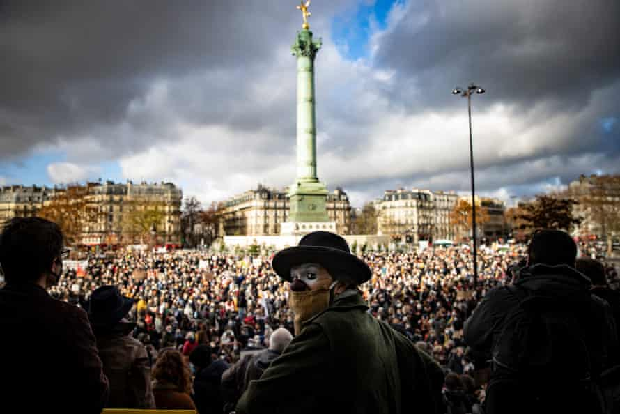 A protest against the closure of cultural spaces by the French government, in the Place de la Bastille, Paris