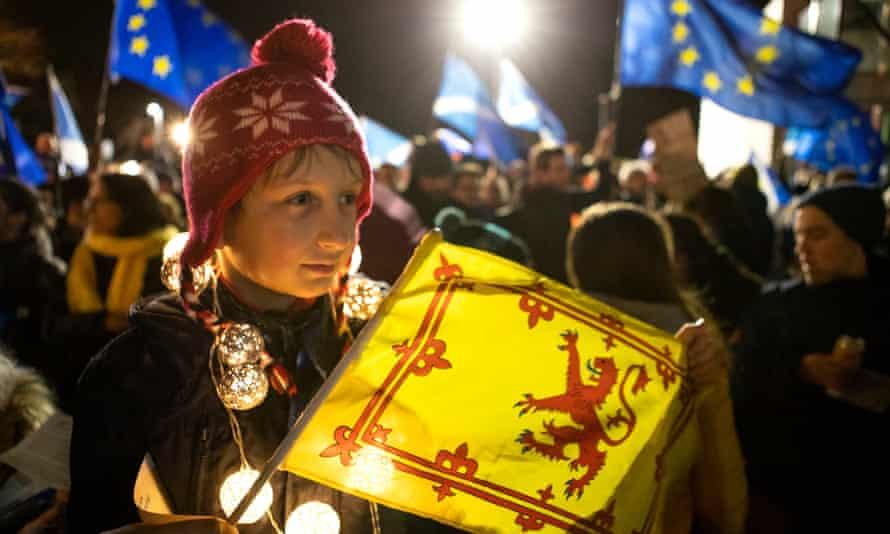 Pro-EU campaigners outside the Scottish parliament, Edinburgh, January 2020