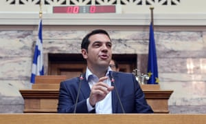 """Greek Prime Minister Alexis Tsipras addresses his MP's and ministers at the Greek Parliamennt in Athens on June 16, 2015. Tsipras charged the International Monetary Fund had """"criminal responsibility"""" for Greece's debt crisis and called on the country's European creditors to assess the IMF's policies. AFP PHOTO / LOUISA GOULIAMAKILOUISA GOULIAMAKI/AFP/Getty Images"""